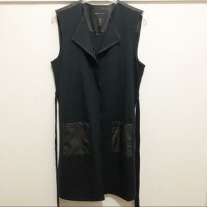 BCBGMaxAzria Long Belted Black Vest - Leather NWT